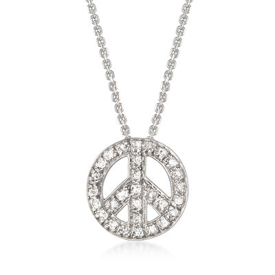 .10 ct. t.w. Diamond Peace Sign Pendant Necklace in 14kt White Gold, , default