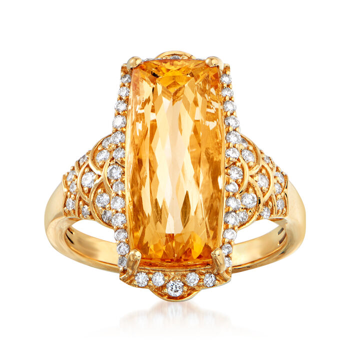 8.50 Carat Yellow Topaz and .39 ct. t.w. Diamond Ring in 18kt Yellow Gold. Size 7