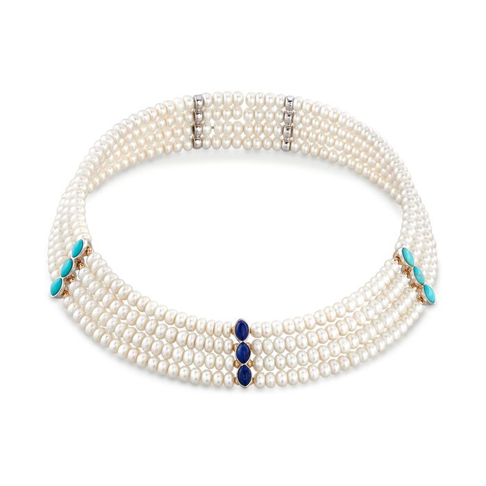 """4.5-5mm Cultured Pearl With Turquoise and Lapis Choker Necklace in 14kt Yellow Gold and Sterling Silver. 15.5"""", , default"""