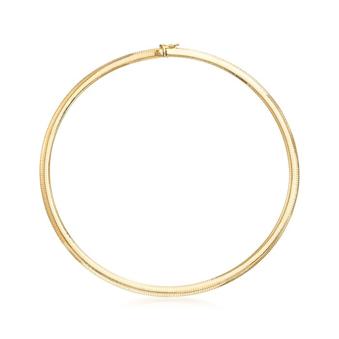Italian 6mm 18kt Yellow Gold Omega Necklace