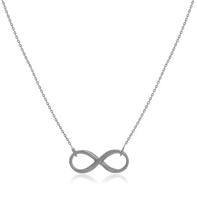 14kt White Gold East-West Infinity Necklace, , default