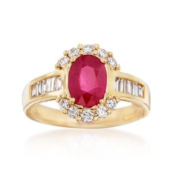 1.50 Carat Ruby and .65 ct. t.w. Diamond Halo Ring in 14kt Yellow Gold, , default