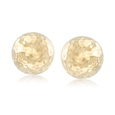 14kt Yellow Gold Hammered Dome Clip-On Earrings, , default