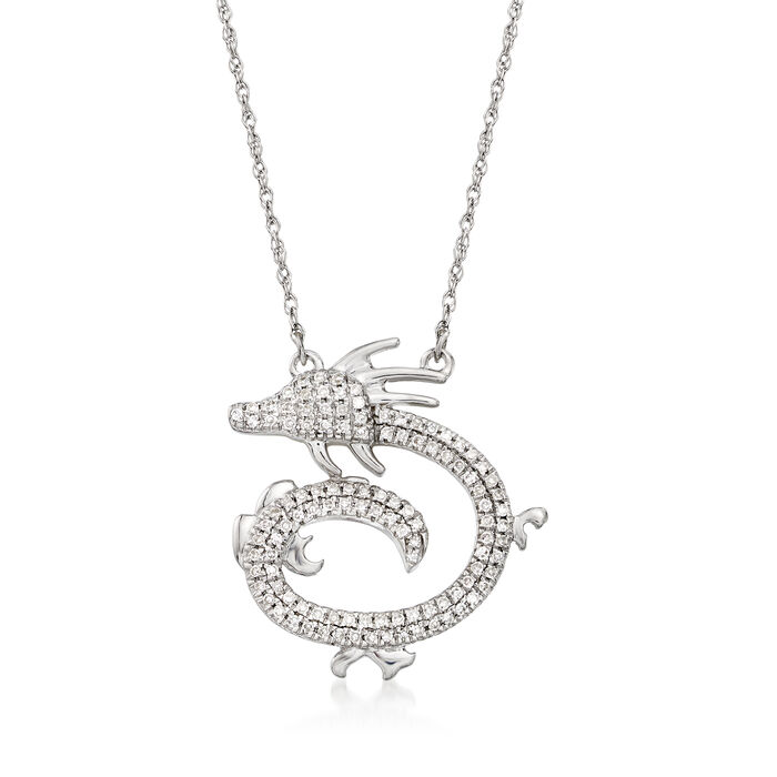 .15 ct. t.w. Diamond Dragon Necklace in 14kt White Gold