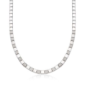 "C. 1990 Vintage .90 ct. t.w. Diamond Square Link Necklace in 18kt White Gold. 16.5"", , default"