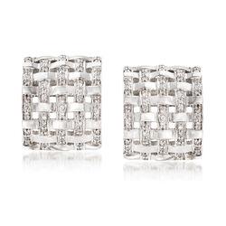 1.20 ct. t.w. Diamond Basketweave Drop Earrings in 14kt White Gold , , default