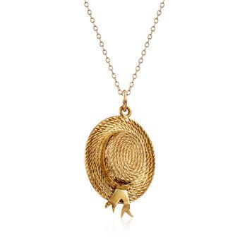 "C. 1980 Vintage 14kt Yellow Gold Hat Pendant Necklace. 18"""
