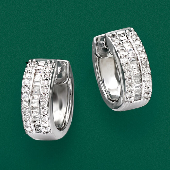 .50 ct. t.w. Round and Baguette Diamond Huggie Hoops in Sterling Silver