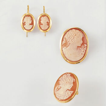 Italian Oval Shell Cameo Drop Earrings in 14kt Yellow Gold