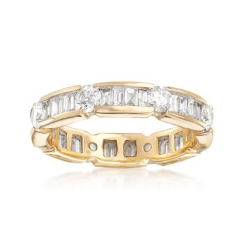 2.00 ct. t.w. Baguette and Round Diamond Eternity Band in 14kt Yellow Gold, , default