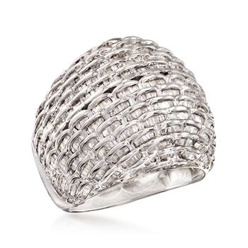 2.00 ct. t.w. Diamond Basketweave Dome Ring in Sterling Silver. Size 9, , default