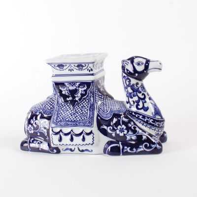 Blue Chinoiserie Porcelain Camel Figurine