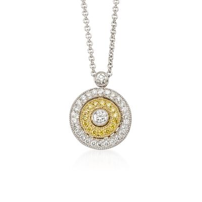 Simon G. .27 ct. t.w. White and Yellow Diamond Circle Pendant Necklace in 18kt Tri-Colored Gold, , default