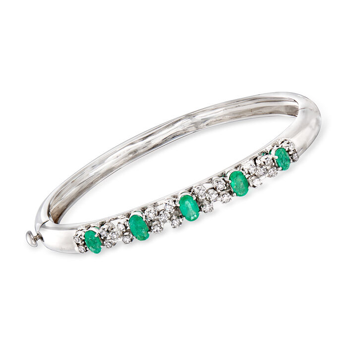"""C. 1990 Vintage 1.93 ct. t.w. Emerald and .85 ct. t.w. Diamond Bangle Bracelet in 18kt White Gold. 7.5"""", , default"""