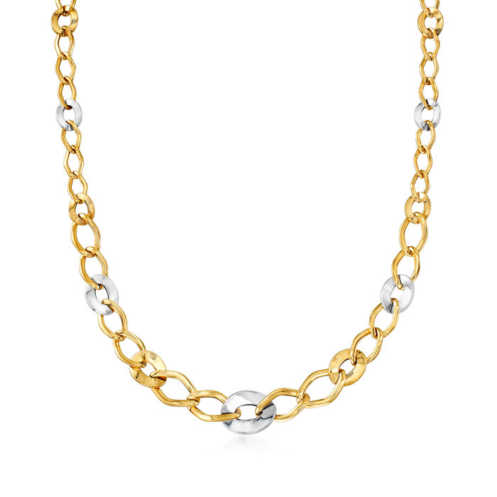 Italian 14kt Two-Tone Gold Link Necklace, , default
