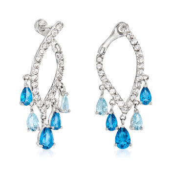 2.50 ct. t.w. Blue and White Swarovski Topaz Drop Earrings in Sterling Silver, , default