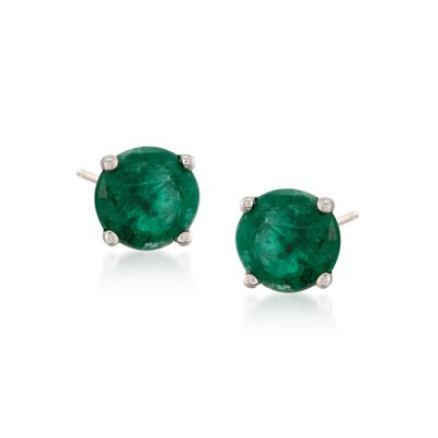.60 ct. t.w. Round Emerald Stud Earrings in 14kt White Gold, , default