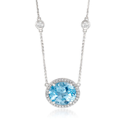 5.50 Carat Blue Topaz and .16 ct. t.w. Diamond Necklace with .80 ct. t.w. White Sapphire Stations in 14kt White Gold, , default