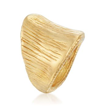 Italian 18kt Gold Over Sterling Silver Wide Textured Ring, , default
