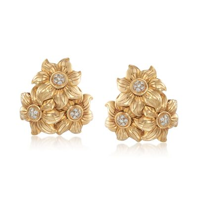 C. 1970 Vintage .90 ct. t.w. Diamond Floral Cluster Clip-On Earrings in 18kt Yellow Gold, , default