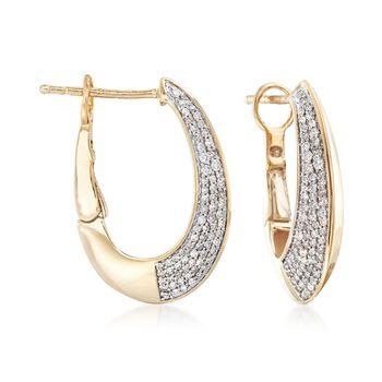 """.50 ct. t.w. Diamond Hoop Earrings in 14kt Yellow Gold. 7/8"""", , default"""