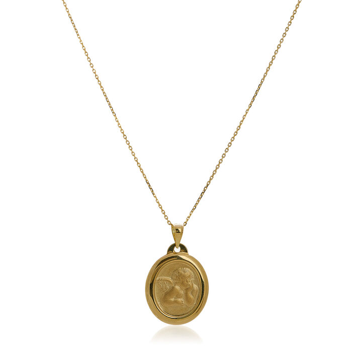 14kt Yellow Gold Heart Cupid Medal Pendant Necklace. 18""