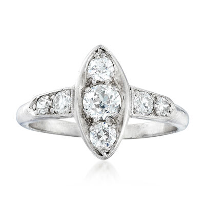 C. 1950 Vintage .80 ct. t.w. Diamond Navette Ring in Platinum