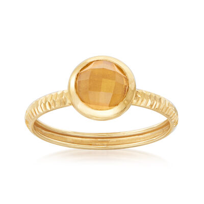 Italian .70 Carat Citrine Ring in 14kt Yellow Gold, , default