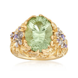 C. 1990 Vintage 5.50 Carat Green Prasiolite and .10 ct. t.w. Tanzanite Ring With Diamond Accents in 10kt Yellow Gold, , default