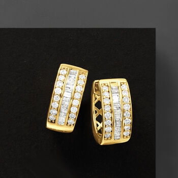 """1.00 ct. t.w. Baguette and Round Diamond Hoop Earrings in 18kt Gold Over Sterling. 1/2"""""""