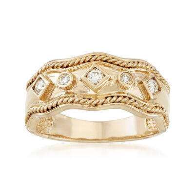 .19 ct. t.w. Diamond Wavy Ring in 14kt Yellow Gold, , default