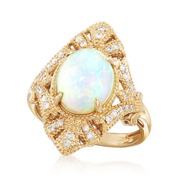9x11mm Opal Ring with .22 ct. t.w. Diamonds in 18kt Yellow Gold, , default