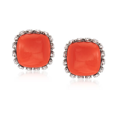 Orange Coral Square Stud Earrings in Sterling Silver, , default