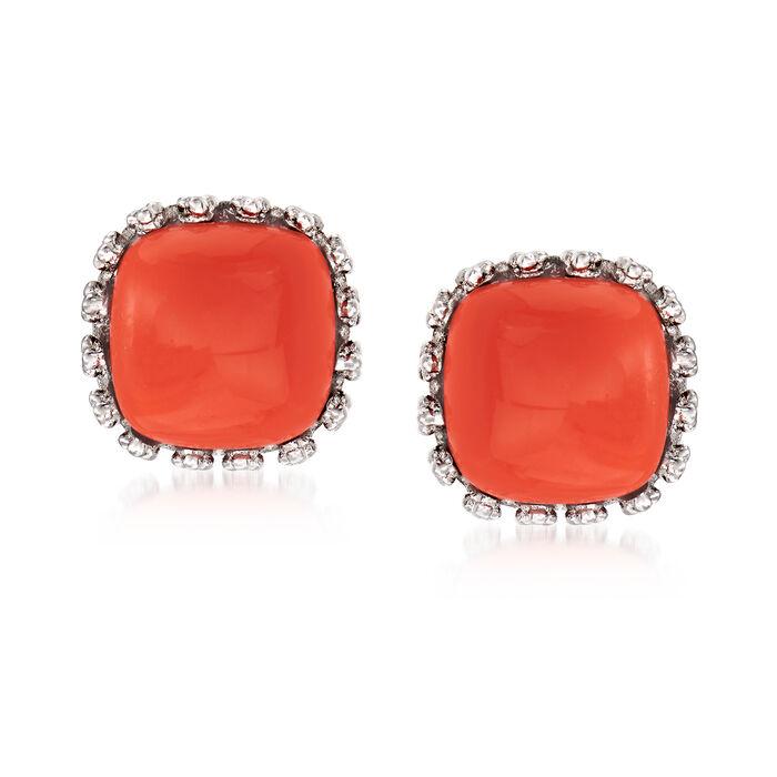 Orange Coral Square Stud Earrings in Sterling Silver, , default