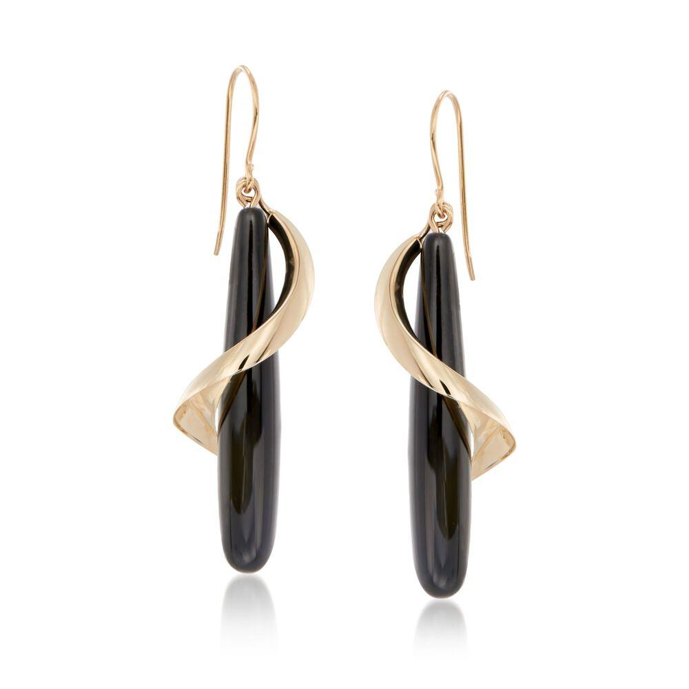 822da1500 Elongated Black Onyx Teardrop Spiral Earrings in 14kt Yellow Gold, , default
