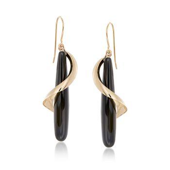 Elongated Black Onyx Teardrop Spiral Earrings in 14kt Yellow Gold, , default