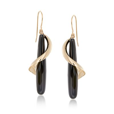 Elongated Black Onyx Teardrop Spiral Earrings in 14kt Yellow Gold, , default