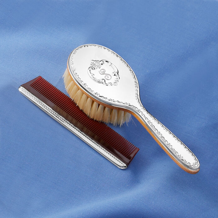 """Gorham """"Chantilly"""" Girl's Sterling Silver Personalized Brush and Comb Set, , default"""