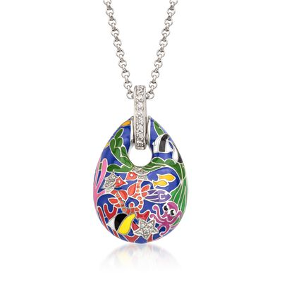 "Belle Etoile ""Seahorse"" Multicolored Enamel and .30 ct. t.w. CZ Pendant in Sterling Silver, , default"