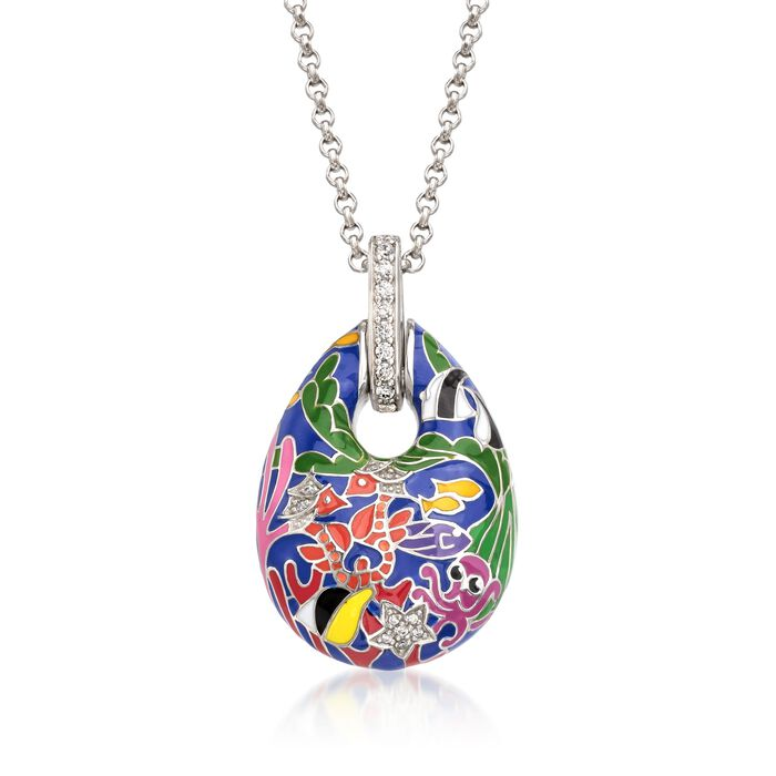 """Belle Etoile """"Seahorse"""" Multicolored Enamel and .30 ct. t.w. CZ Pendant in Sterling Silver"""