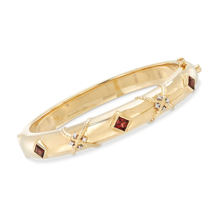 1.30 ct. t.w. Garnet Bangle Bracelet in 14kt Yellow Gold with Diamond Accents, , default