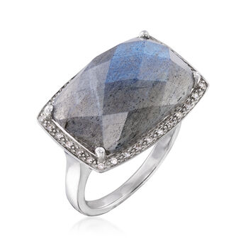 Labradorite and .10 ct. t.w. Diamond Ring in Sterling Silver, , default