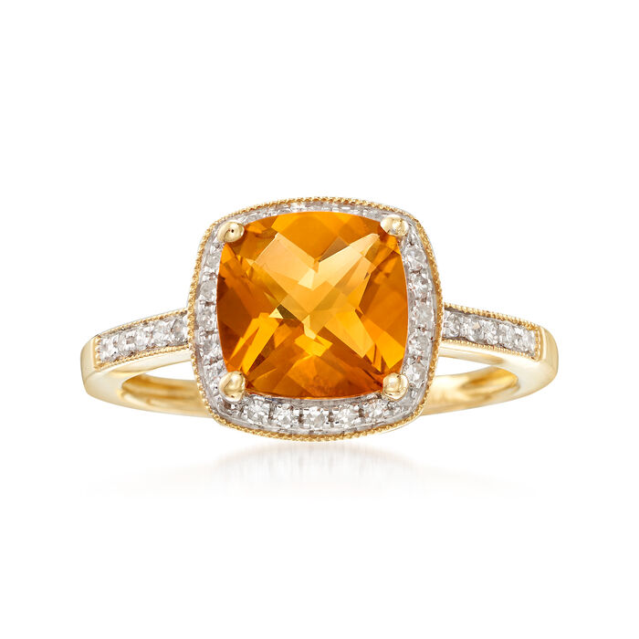 2.00 Carat Cushion-Cut Citrine and .10 ct. t.w. Diamond Ring in 14kt Yellow Gold, , default