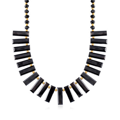 Black Onyx and 35.00 ct. t.w. Black Spinel Necklace with 18kt Gold Over Sterling, , default