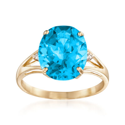 5.50 Carat Blue Topaz Ring with Diamond Accents in 14kt Yellow Gold, , default
