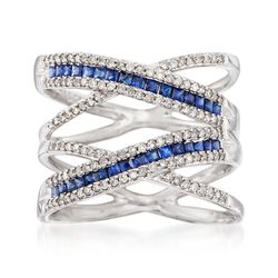 .50 ct. t.w. Sapphire and .42 ct. t.w. Diamond Highway Ring in 14kt White Gold. Size 5, , default