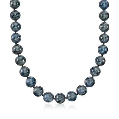 10-11mm Black Cultured Freshwater Pearl Necklace with 14kt White Gold