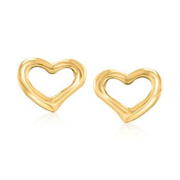 18kt Yellow Gold Open-Space Heart Stud Earrings , , default