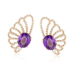 C. 1960 Vintage 8.40 ct. t.w. Amethyst and .12 ct. t.w. Diamond Earrings in 14kt Yellow Gold, , default