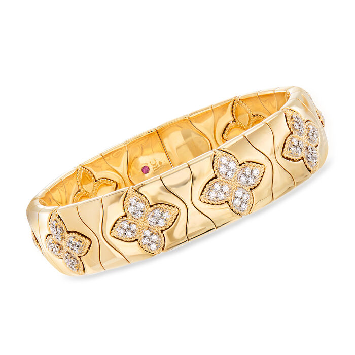 "Roberto Coin ""Princess Flower"" 1.48 ct. t.w. Diamond Cuff Bracelet in 18kt Yellow Gold. 6.5"""